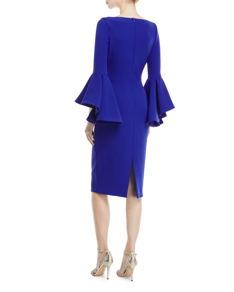 Flair-Sleeve V-Neck Sheath Dress