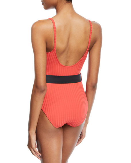 The Nina Belted Ribbed Solid One-Piece Swimsuit, Red