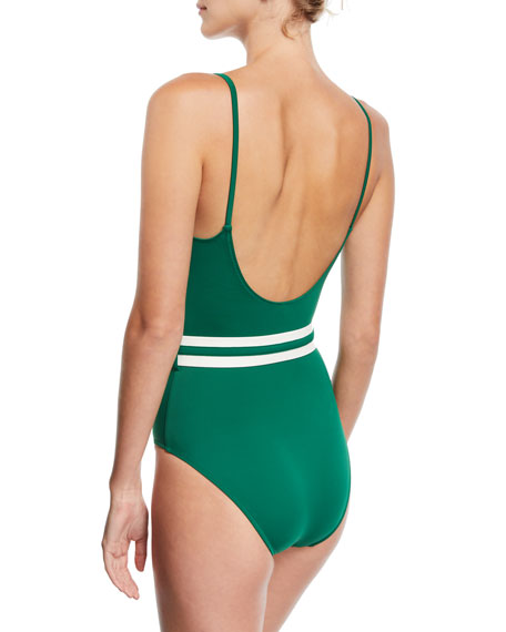 The Nina Belted Solid One-Piece Swimsuit, Green