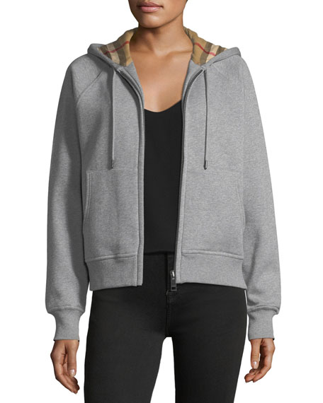 Burberry Check-Lined Hooded Jacket, Gray