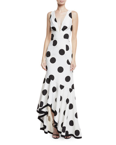 Gabriella Polka-Dot Asymmetric Ruffle Dress