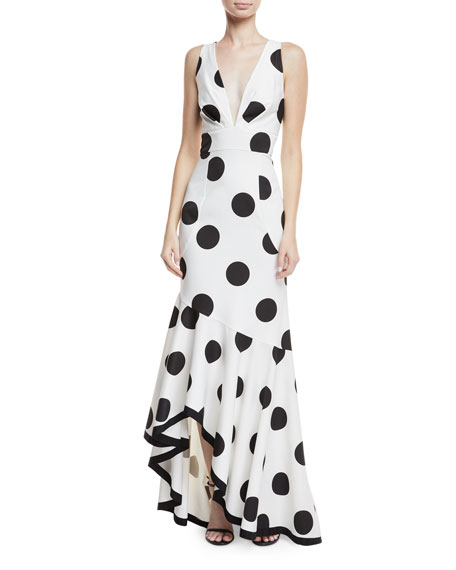 Gabriella Polka-Dot Asymmetric Ruffle Dress