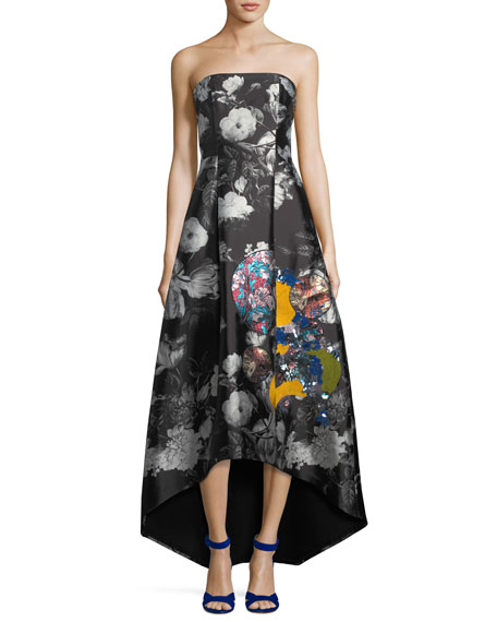Sachin & Babi  Cathy Embroidered Strapless Gown