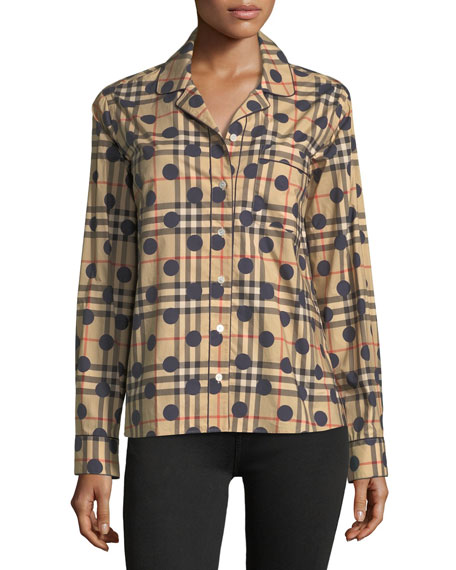 Burberry Checked Dot-Print Long-Sleeve Shirt