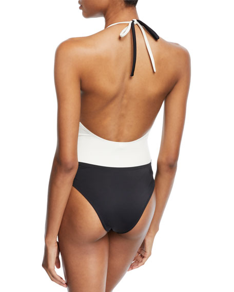 The Matilde Colorblocked Halter Wrap-Front One-Piece Swimsuit