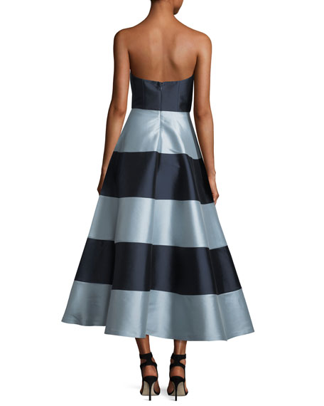 Nessa Strapless Striped A-Line Cocktail Dress