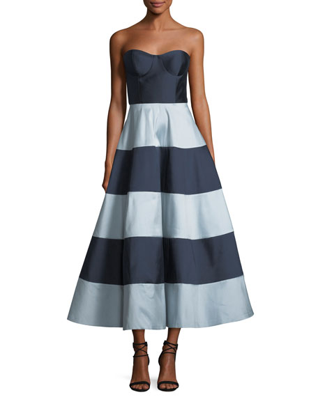Sachin & Babi Nessa Strapless Striped A-Line Cocktail