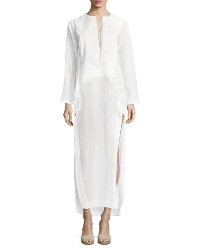 Split-Neck Long-Sleeve Voile Kaftan with Embroidery