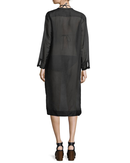 Scoop-Neck Long-Sleeve Semisheer Shirtdress with Lace, One Size