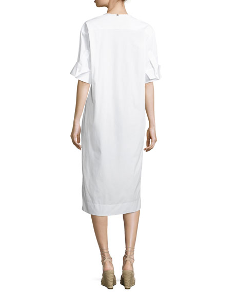 Scoop-Neck Half-Sleeve Poplin Dress with Lace, One Size