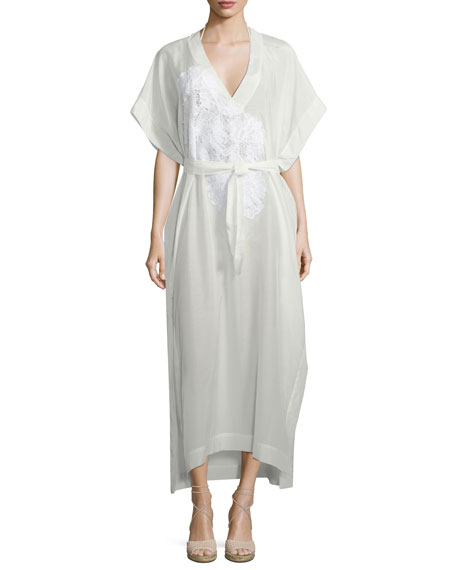 Classic Kaftan Maxi Dress with Lace, One Size