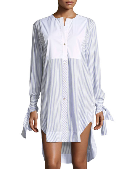 lila.eugenie Mascia Button-Front Striped Poplin Shirtdress with