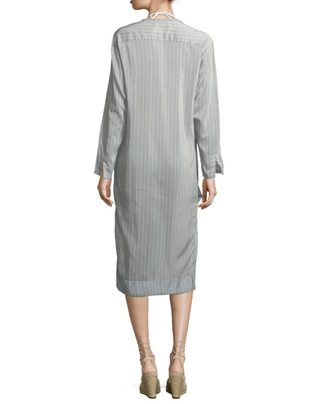 Scoop-Neck Long-Sleeves Striped Shirtdress with Lace, One Size