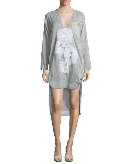 LILA.EUGENIE Scoop-Neck Long-Sleeves Striped Shirtdress With Lace, One Size in Multi