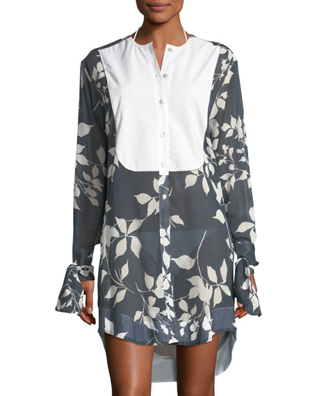 lila.eugenie Floral-Print Mother of Pearl Button-Front Semisheer