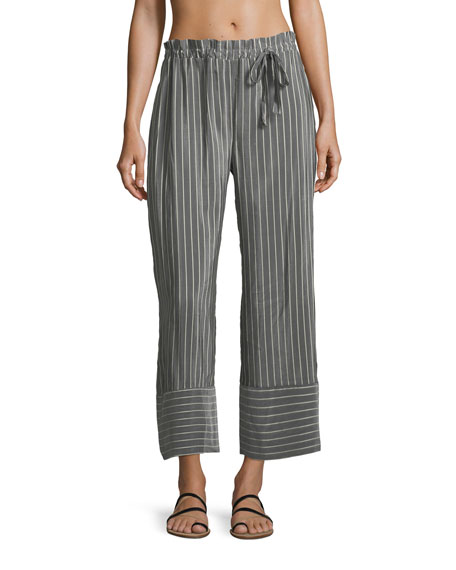 LILA EUGENIE Jesi Striped Wide-Leg Ankle Cotton-Silk Coverup Pants in Gray