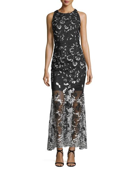 Aidan by Aidan Mattox Embroidered Halter Sleeveless Gown