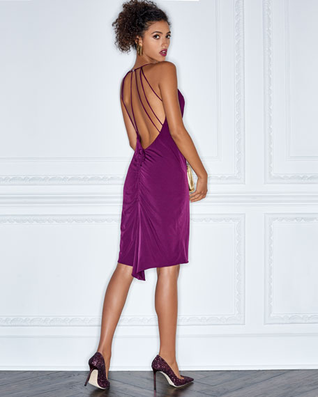 Cowl-Neck Strappy-Back Cocktail Dress