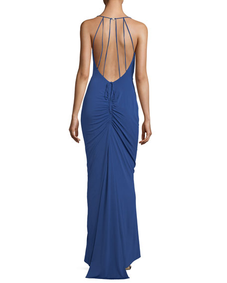 Maria Bianca Nero Haley Cowl-Neck Ruched-Back Evening Gown