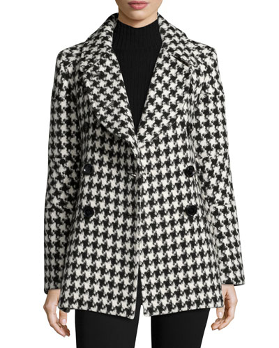 Houndstooth Double-Breasted Alpaca-Wool Pea Coat