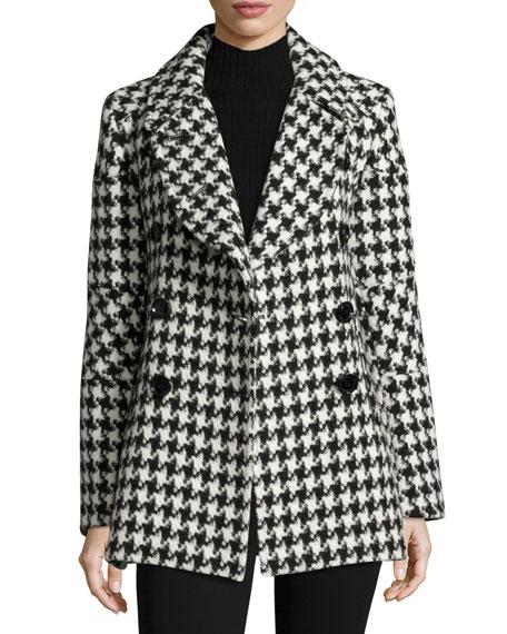 Houndstooth Double-Breasted Alpaca-Wool Pea Coat in Black