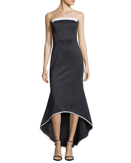 Black Halo Dylan Strapless High-Low Gown