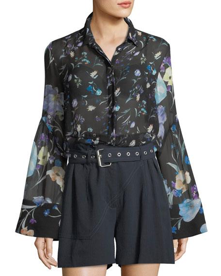 3.1 Phillip Lim Bell-Sleeve Button-Down Floral-Print Silk Chiffon