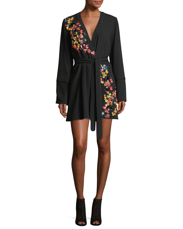 384d0a9a04a7 Tanya Taylor Luna Satin Back Crepe Wrap Dress with Paillettes ...