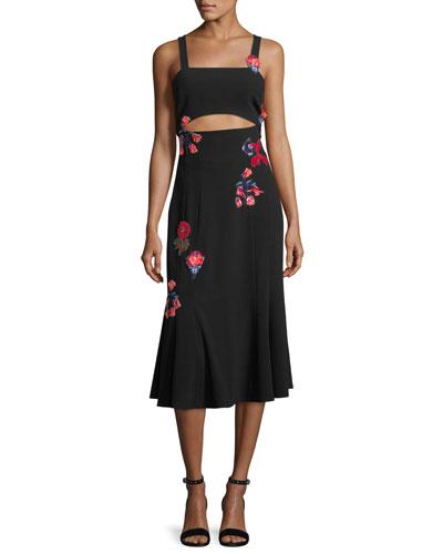 Olivia Sleeveless Floral-Embroidered Crepe Midi Dress