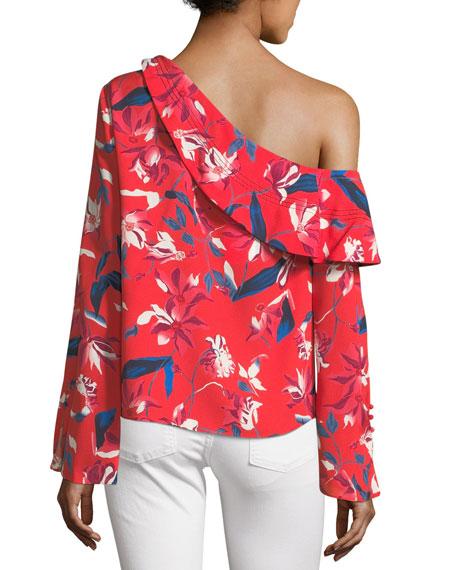 Jules One-Shoulder Long-Sleeve Tulip-Print Top