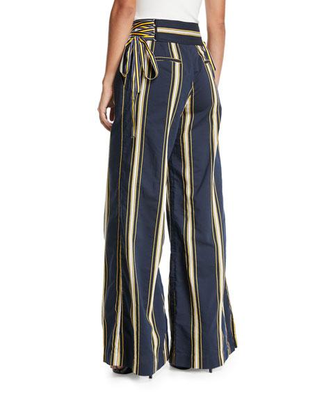 Dawn High-Waist Side-Tie Wide-Leg Striped Pants
