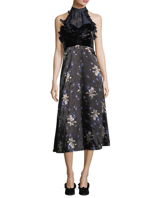 Rebecca Taylor Sleeveless Halter A-Line Velvet Printed Midi Dress ...