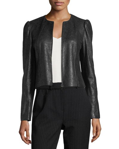 Rebecca Taylor Crackle Zip-Front Pebble Leather Jacket
