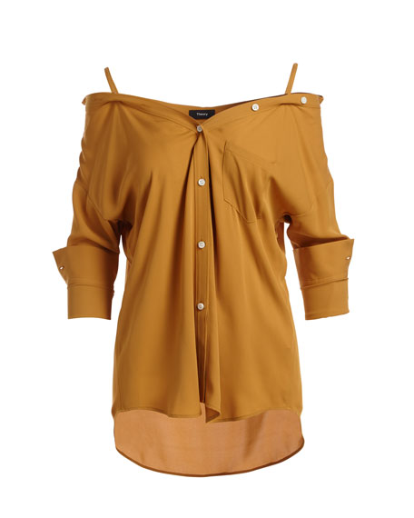 Tamalee Button-Front Classic Georgette Silk Top