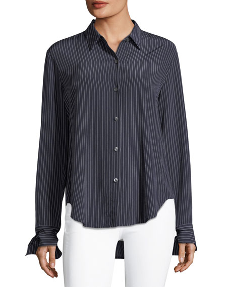 Theory Tie-Cuffs Button-Front Pinstripe Crepe De Chine Silk