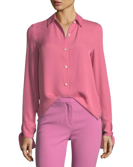 Theory Button-Front Silk Tie-Cuff Shirt