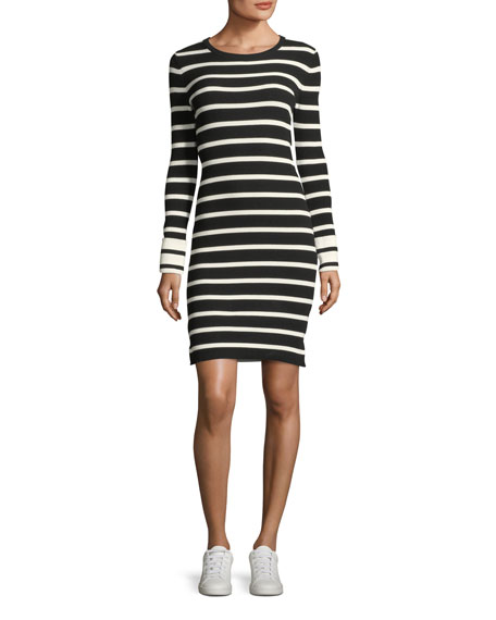 Striped Crewneck Fitted Short Dress