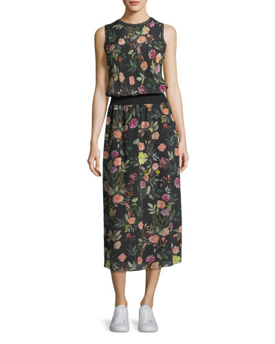 Lewie Sleeveless Floral-Print Crepe de Chine Long Dress