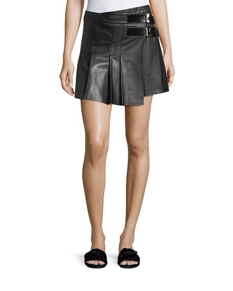 Helmut Lang Pleated Leather Buckle Mini Skirt