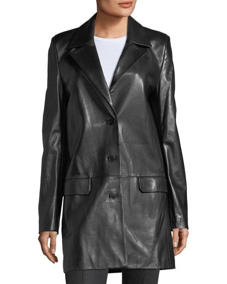 Matrix Button-Front Leather Blazer Jacket