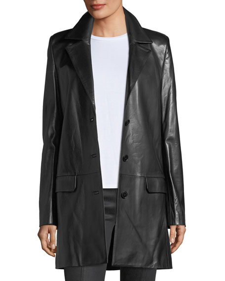 Helmut Lang Matrix Button-Front Leather Blazer Jacket