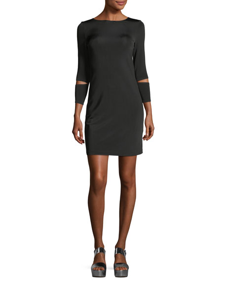 Detached-Cuff Crewneck Fitted Dress