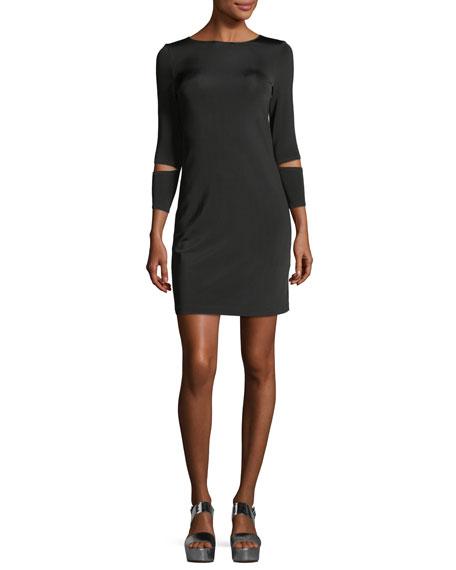 Helmut Lang Detached-Cuff Crewneck Fitted Dress
