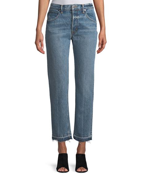 Helmut Lang Light-Wash Crease Straight-Leg Jeans