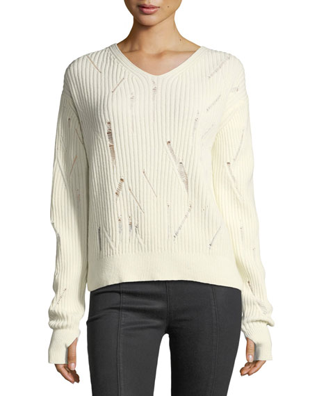 Helmut Lang V-Neck Drop-Needle Wool Sweater