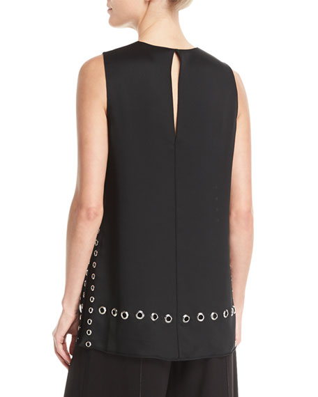 Khan Grommet-Detail Sleeveless Top
