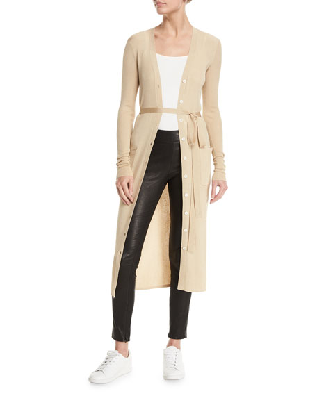Elizabeth and James Neil Button-Front Ribbed Long Cardigan