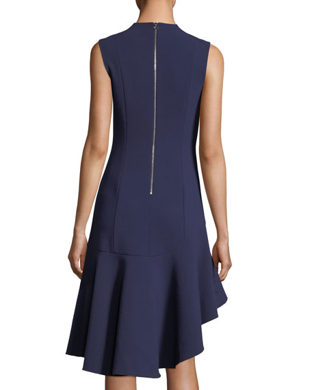 Dev Crewneck Fit-and-Flare Stretch-Crepe Dress