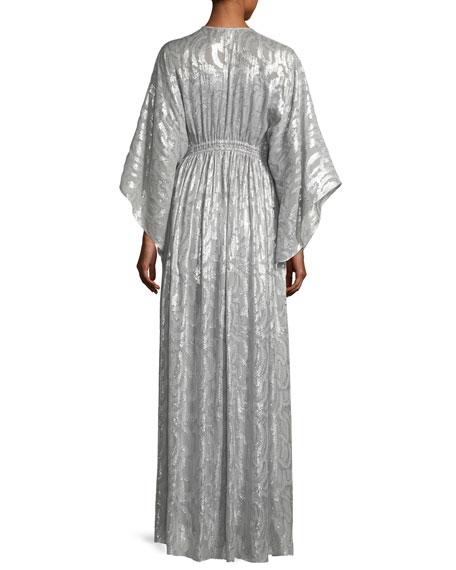 Raquel Deep-V Long-Sleeve Silk-Metallic Long Caftan Dress