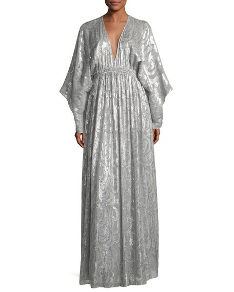 Elizabeth and James Raquel Deep-V Long-Sleeve Silk-Metallic Long